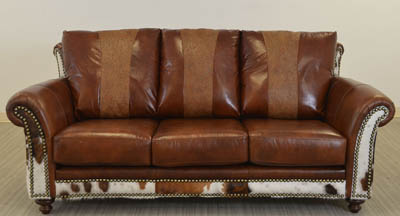 Austin Sofa Hair On Hide Tooled